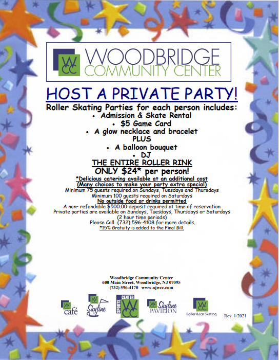 Woodbridge Community Center Private Party Package Information