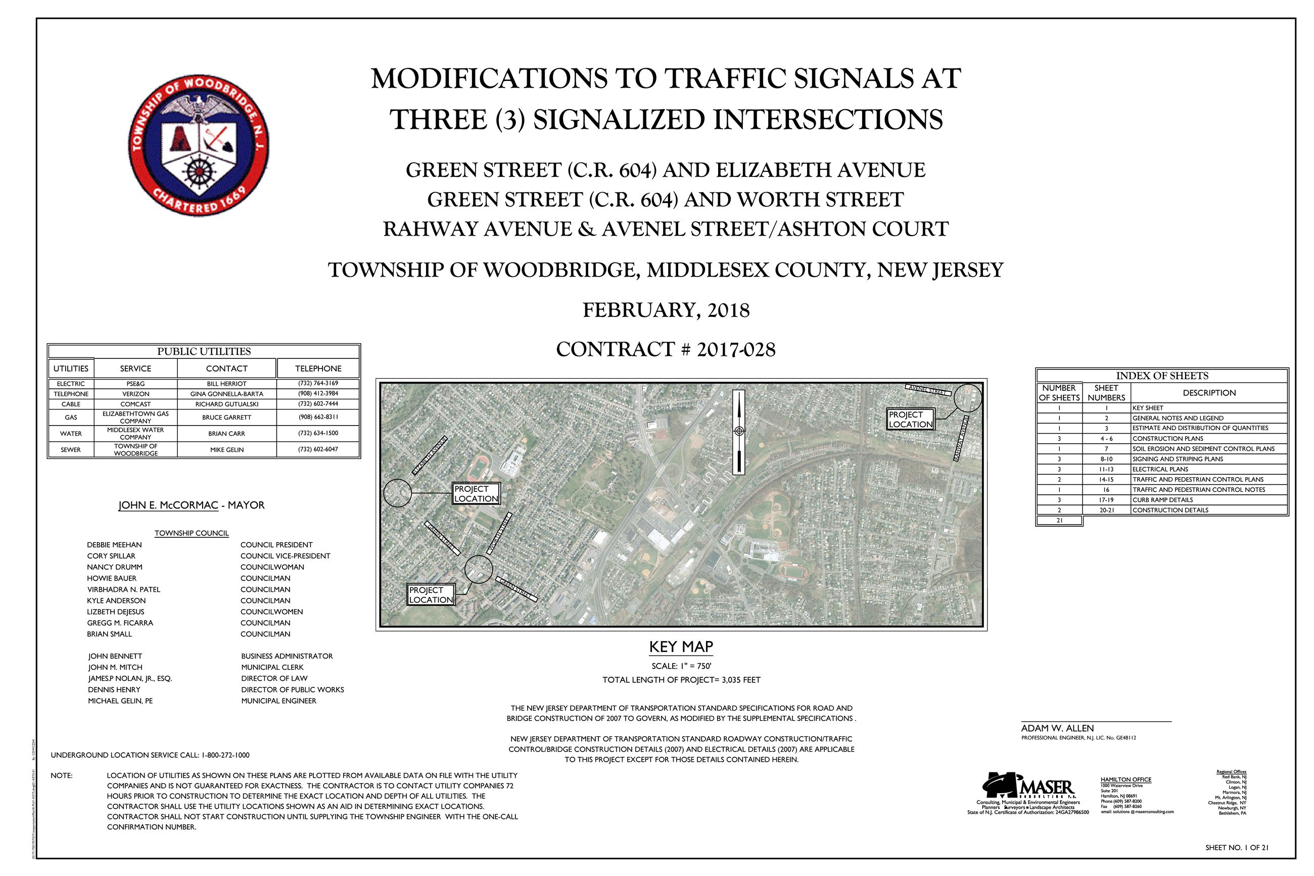 Modifications to Traffic Signals at Three Signalized Intersections-TITLE SHEET